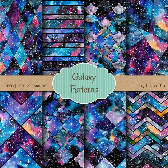 Galaxy Scrapbook Paper Galaxy Patterns Watercolor Etsy