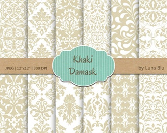"Damask Digital Paper: ""Khaki Damask Patterns"" khaki digital paper, for cardmaking, invitations, neutral scrapbooking paper"
