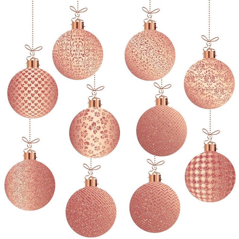 Rose Gold Christmas Clipart Rose Gold Christmas Ornaments Rose Gold Xmas Clipart Rose Gold Christmas Balls Glitter Christmas Graphics