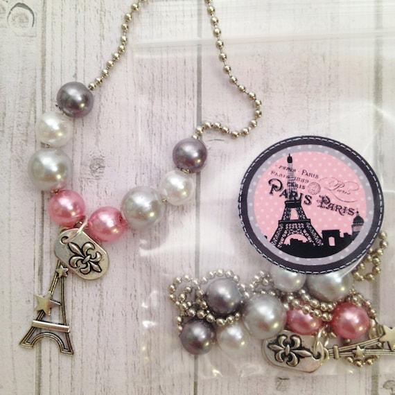 Eiffel Tower FLEUR DE LIS Crown Silver Charm Bracelet Paris Party Favors