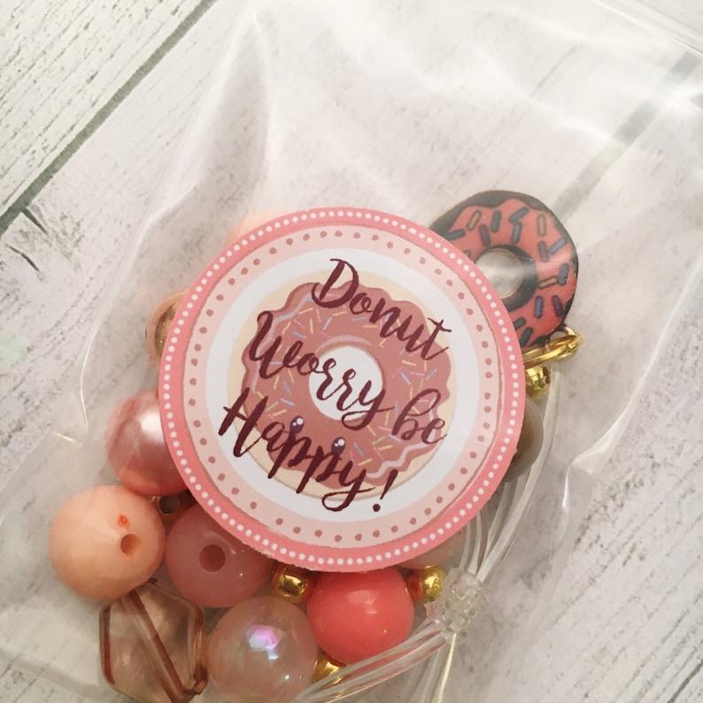 8 Donut DIY Charm Bracelet Birthday or Slumber Party Activity DIY Bracelet Donut Worry be Happy DIY bracelet kit Pajama Party Activity
