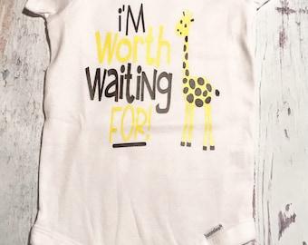 Im worth waiting for, baby bodysuit, newborn outfit, coming home outfit, baby girl outfit, baby boy outfit