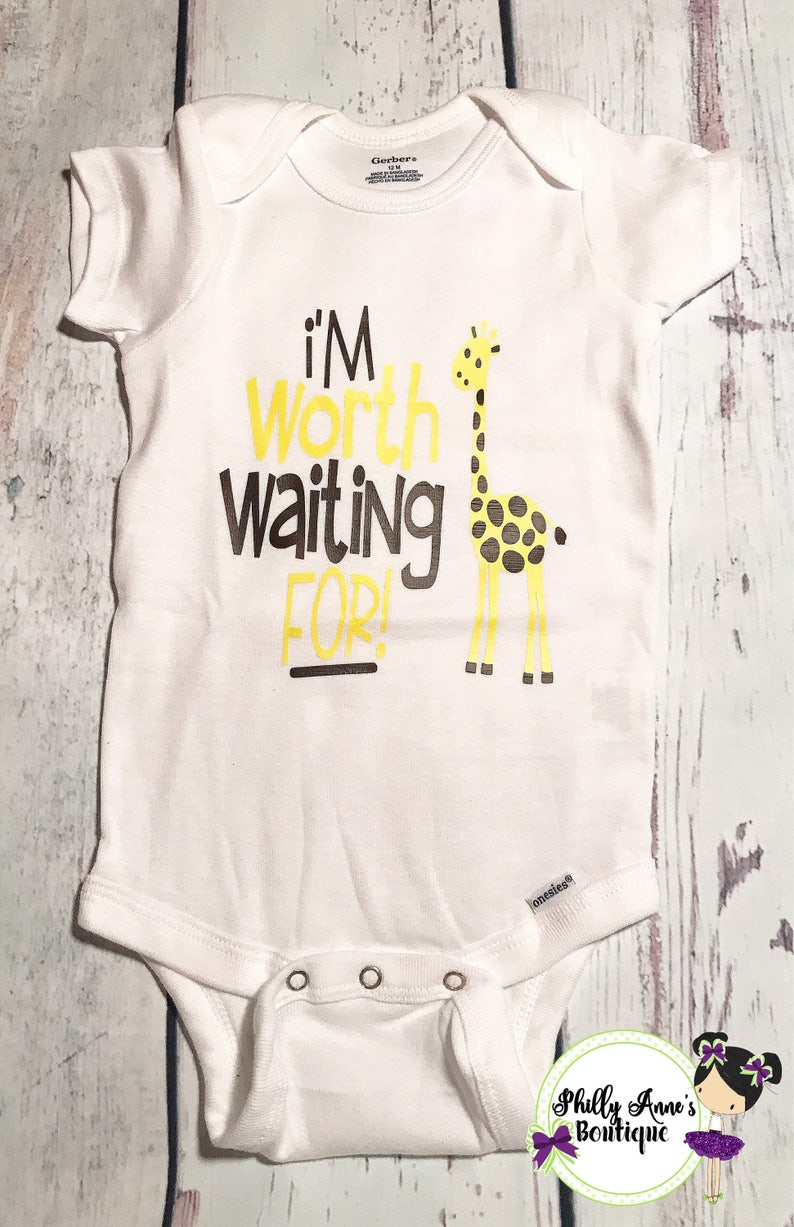 10330958014 Im worth waiting for baby bodysuit newborn outfit coming | Etsy