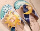 Sun and moon sandals, leather sandals,sea sun and moon sandals,  hand painted leather sandals