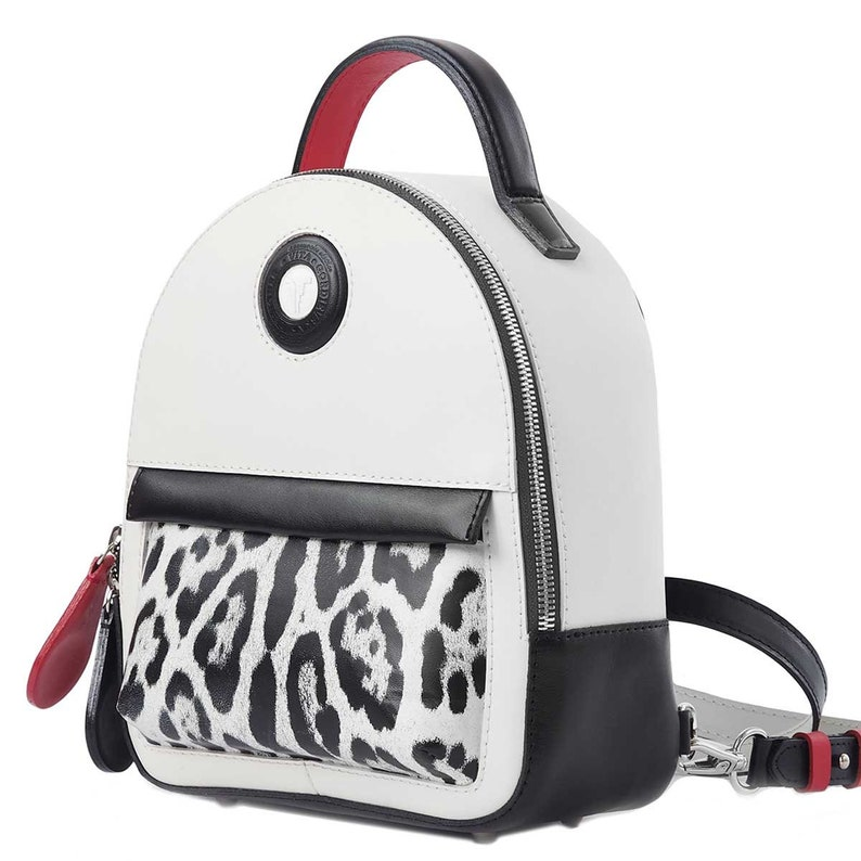 Leather Backpack Juice Unique Handbags Handmade Handbag White+Black+Red
