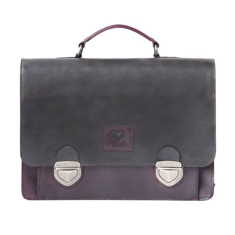 Leather Laptop Bag Crossbody Men's  Women's Briefcase image 0