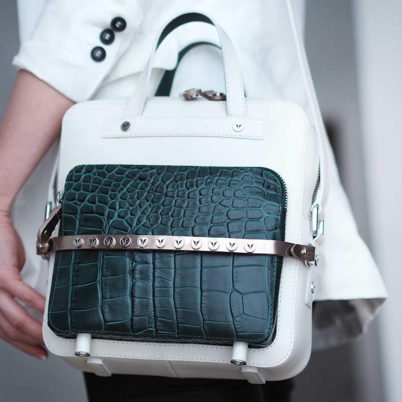 Leather Crossbody  Women's DAMSON DUO   Unique Handbags White+Green Croco