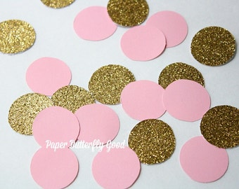 """100 1"""" Gold glitter and pink circle  confetti, Baby Shower Decorations"""