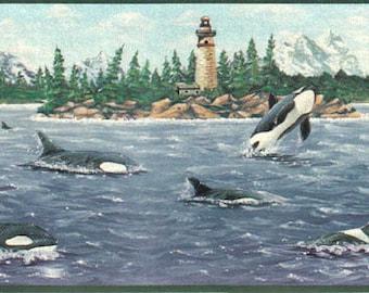 Lighthouse Whale B2153NF Wallpaper Border