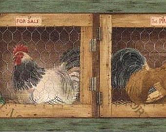 Roosters Hens AFR7136 Wallpaper Border
