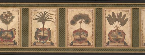 Vintage Squares Palm Acanthus Sage Au5082b Wallpaper Border Etsy