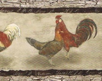 Roosters Hens SP76455 Wallpaper Border