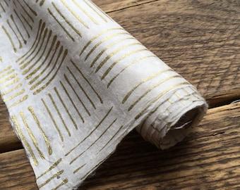 Gold Stripe Wrapping Paper. Handmade Lokta Paper. Wedding Gift Wrap. Origami. 75 x 50cm.
