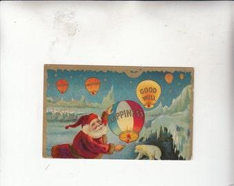 Christmas Santa Flying Hot Air Balloons W Greetings Postcard-Goodwill-Happiness-Prosperity-Antique Postcard-Gold Detail-Polar Bear
