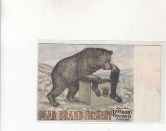 04529e35b C 1910 Advertising Antique Postcard Bear Brand Hosiery Bear Holding Socks  Paramount Knitting Chicago Unused