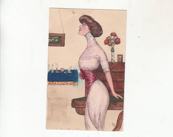 Original Art Hand Painted And Drawn Dated 1911  Woman In Her Surroundings/Room Setting Antique Postcard-One Of A Kind