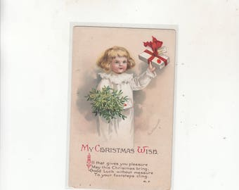 A/S Ellen Clapsaddle Antiique Christmas Postcard Embossed Child In Nightgown Holding Gift And Mistlletoe /Unused