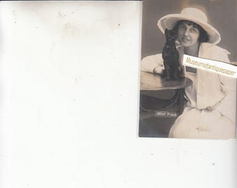 Lady Mizzi Prah With Chihuahua Dog? Original Old 1920s Photo Postcard Unused