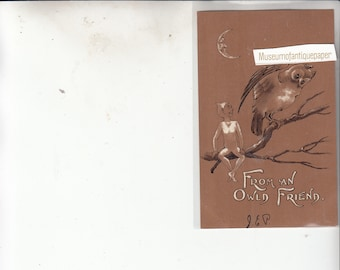 Antique Postcard Greeting Owl-Elf-Moon From An Owl'd Friend/Unused