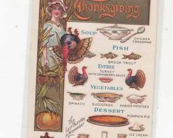 Scarce C1910 Embossed Thanksgiving Menu Postcard/Unused Woman W Turkey Set Against Gold