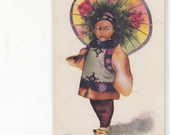 Undivided Back Antique Postcard Chinese Girl In Ethnic Apparel With Parasol-Unused