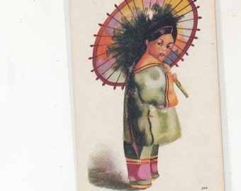 Undiivided Back Antique Postcard-Beautiful Chinese Girl With Parasol