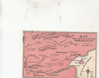 Whimsically Romantic Showing The Course Of The Course Of The True Love River-Antique Postcard-Great Britain-Must See