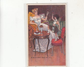 Art Nouveau Woman And Cupid/Angel Toasting To The New Year Antique Postcard C1910s