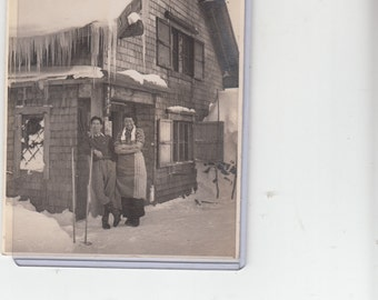 """Wonderful 1930s  4.5"""" X 6"""" Snow Clad Japanese Chalet Owners/Workers Outside/Sturdy Photograph"""