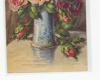 Exquisite Rich Rose Bouquet In Antique Vase Embossed And Brush Stroke Texture Postcard
