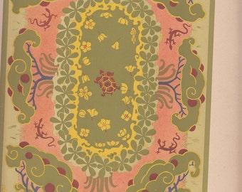 """Paris Le Journal De La Decoration 1911 Art Nouveau Pond W Turtle & Caterpillers A/S Bonvallet,Print ,10.5"""" X  14.5""""Old"""