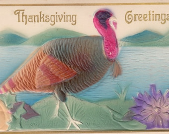 Circa 1910 Antique Postcard Airbrushed Turkey At Waterside,Great Color,Thanksgiving Greetings