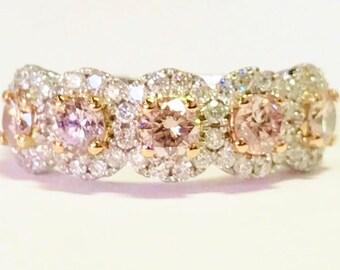9763136bc 1.55CT Natural Light Pink Diamonds 5 Stone Round Halo Ring Wedding Bands  Anniversary Rings Art Deco Platinum 18K 14K White Yellow Rose Gold