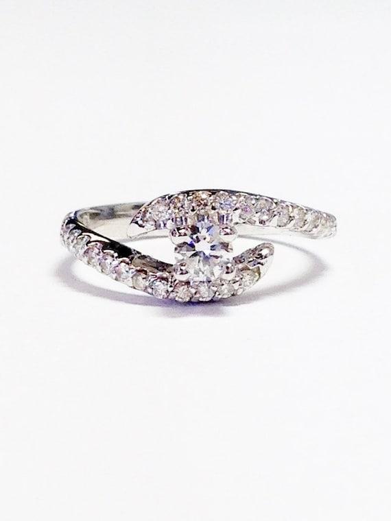 1 2ct Diamond Round Crisscross Engagement Ring Anniversary Etsy