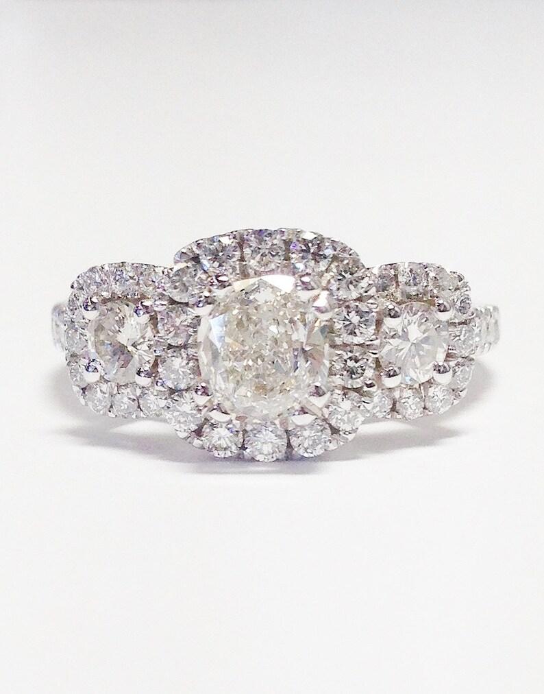 1 50ct Diamond Cushion Cut 3 Stone Halo Side Round Diamonds Engagement Rings Anniversary Ring Platinum 18k 14k White Yellow Rose Gold