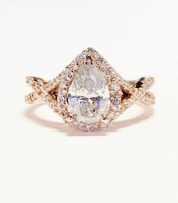 0 75ct Diamond Pear Shaped Halo Criss Cross Engagement Ring Etsy