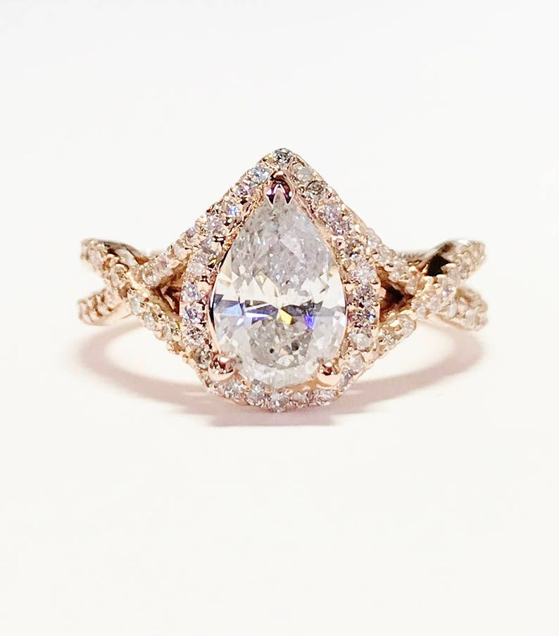 1 25ct Diamond Pear Shaped Halo Criss Cross Engagement Ring Etsy