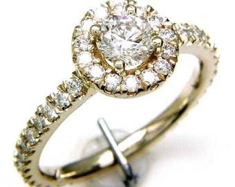 1.25CT Diamond Round Halo Engagement Ring Anniversary Rings Wedding Bands Diamonds 3/4 Way Band Platinum 18K 14K White Yellow Rose Gold