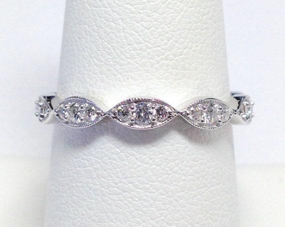 ee1c40ed420 0.30CT Diamond Stackable Antique Art Deco Ring 1 2 Eternity