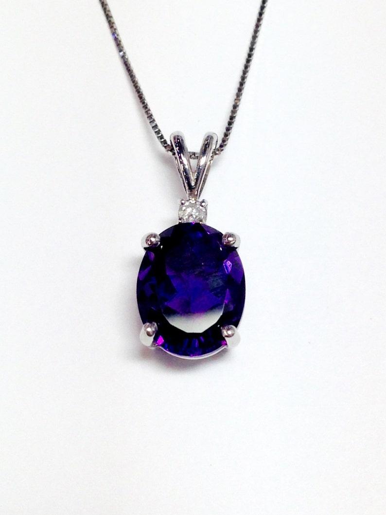 410a65e0202a Piedras preciosas amatista Oval oro blanco diamante collar