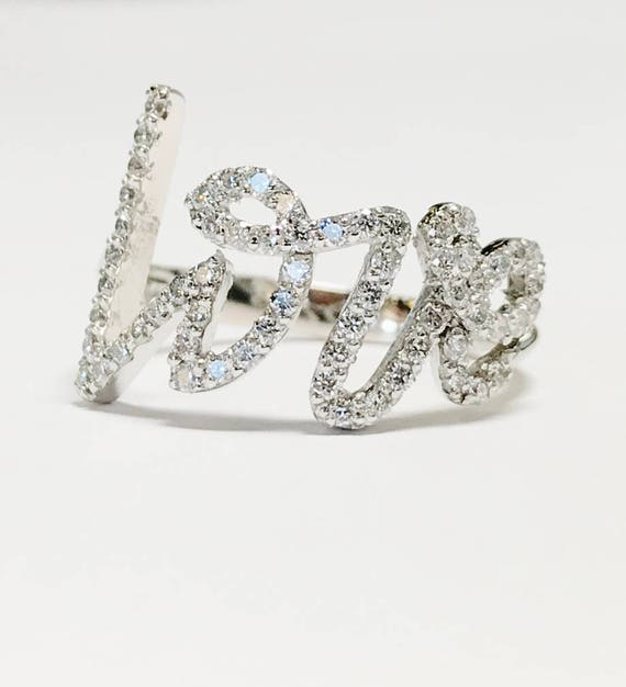 99eb5304a3387 0.50CT Diamond Love Stackable Rings Anniversary Bands Right
