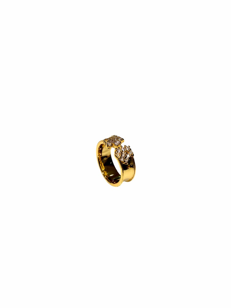 Cuff band white ring,gold cz ring,gold ring,stacking ring,minimalist gold ring,dainty jewellery,gold dainty ring