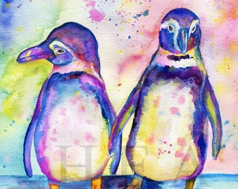 cute Colorful Winter bird art wall decor Watercolor Penguin Original painting Turquoise Pink Blue Yellow Black artwork Christmas gift