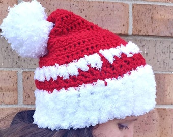 Santa hat, Holiday hat, Christmas hat, Red hat, Hat for Christmas, Adult Santa hat, Pom pom beanie, Men's Santa hat, Christmas Santa hat