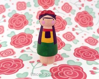 Artist inspired in Frida Kahlo peg doll  by Monigotadas / Yayoi 2 inches