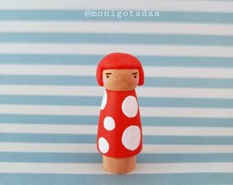 Yayoi Kusama inspired peg doll  by Monigotadas / Yayoi 2 inches
