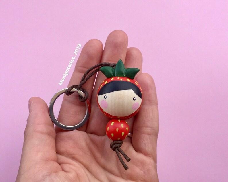 strawberry girl Kokeshi Keychain / strawberry girl or boy 177 image 0