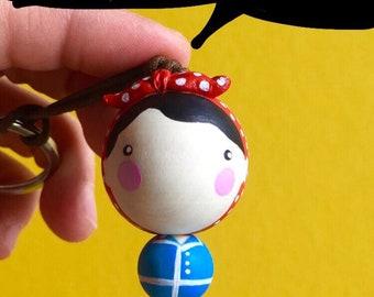 Rosie The Riveter  Kokeshi ball Keychain / Rosie 1,77  inches