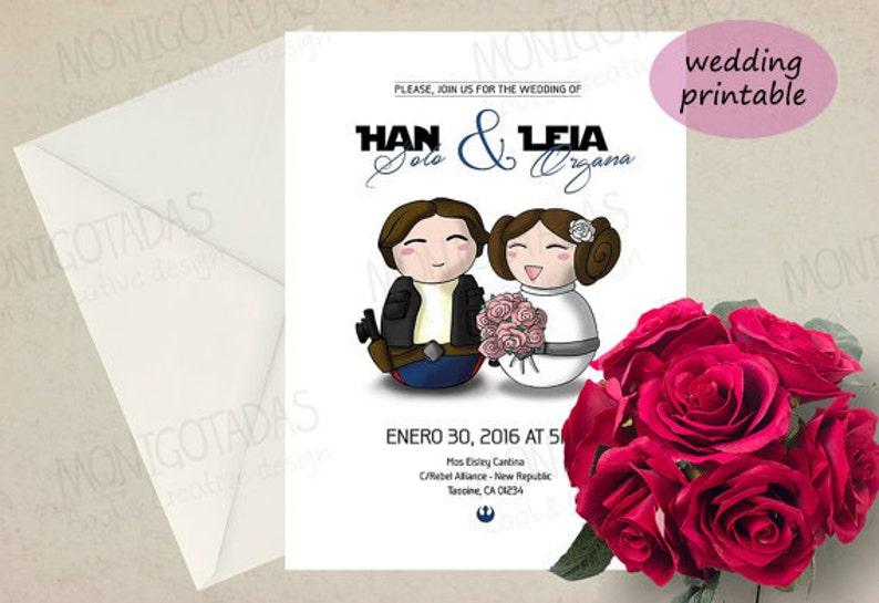 Star Wars wedding invitations / Han Solo and Leia printable image 0