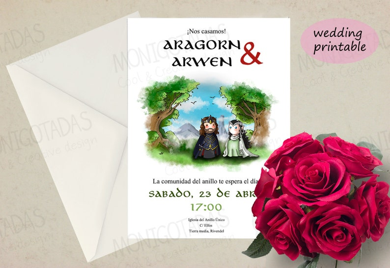 Lord of the Rigns printable Wedding /  Set invitations wedding image 0